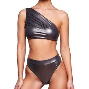 Noire Metallic One-Shoulder Bikini